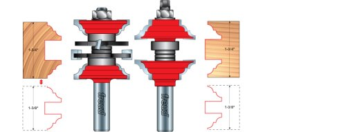 Freud 99-269 Entry and Interior Door Cove and Bead Style Router Bit System 1-3/4-and-1-3/8-Inch Doors, 1/2-Inch Shank with TiCo Hi-Density Carbide, 2-Piece