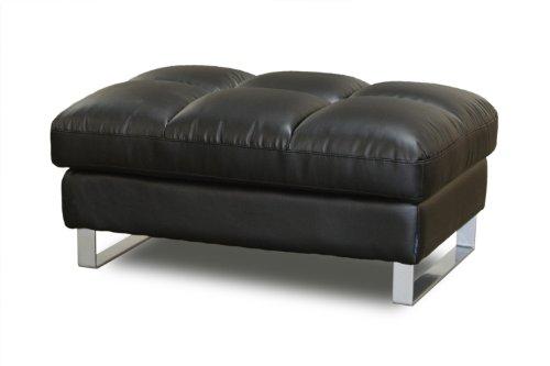 Diamond Sofa Valentino Rectangular Pillowtop Ottoman w/ Metal Leg in Black