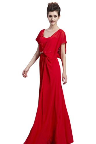 CharliesBridal Red Sweetheart Floor Length Formal Evening Dress with Cap Sleeve - XS - Red