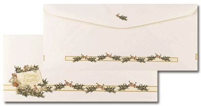 Masterpiece Vintage Christmas Holly #10 Envelopes - 4.125 x 9.5 - 25 Envelopes