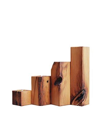 bambeco Set of 4 Reclaimed Wood Smokestacks, Brown