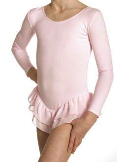 Kinder Ballett Body, langarm, mit kurzem Voile - Doppel - Volant