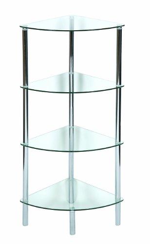 Levv mobiletto ad angolo con 4 ripiani in vetro chiaro e - Mobiletto ad angolo ...