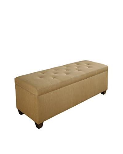 MJL Furniture Sole Secret Large Upholstered Shoe Storage Bench, Gold/Tan