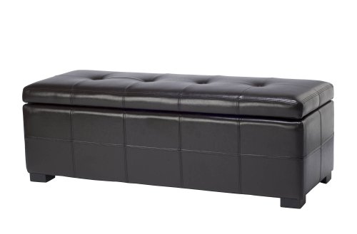 Safavieh Hudson Collection NoHo Tufted Brown Leather Large Storage Bench