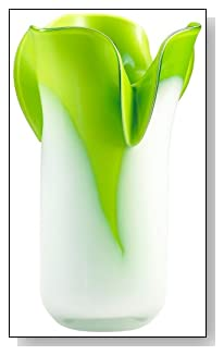 Andre Small Hot Green and Icy White Glass Vase