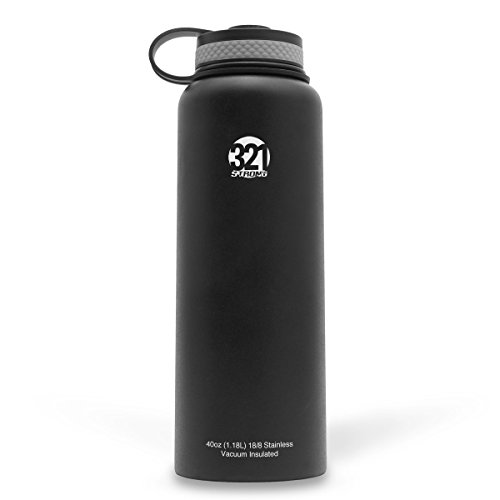 Vacuum Insulated Wide Mouth Stainless Steel Sweat Proof Water Bottle , 40 Ounce , Black (Water Bottle Insulated compare prices)