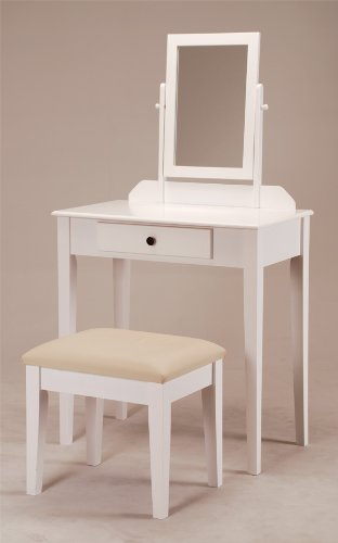 ABC Contemporary Vanity Set with Adjustable Mirror and Stool White Finish