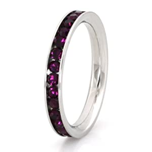 Tioneer Stainless Steel Eternity 3mm Amethyst Color Crystal Stackable Ring - Size 6