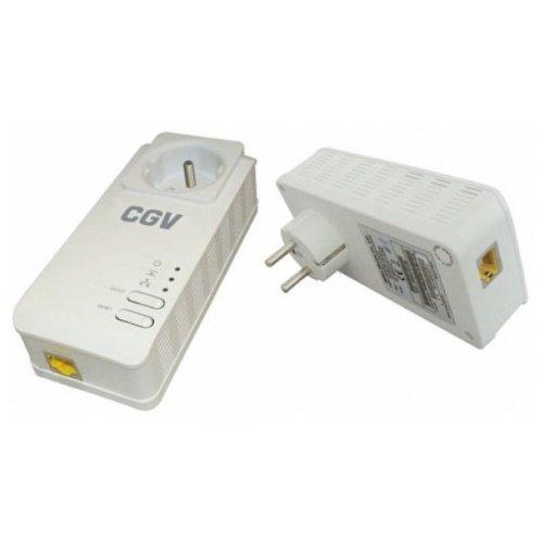 CGV CPLine 2P-200M Pack de 2 Adaptateurs CPL Ethernet Powerline 200 MB/s Prise filtre intégrée HomePlug AV