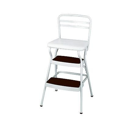 Cosco White Retro Counter Chair / Step Stool with Lift-up Seat 11130WHTE at Sears.com