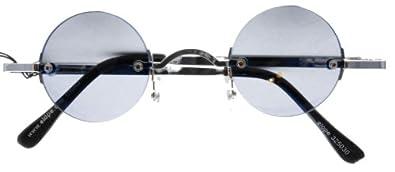 Silver Steampunk Fu Man Chu Glasses with Blue Lenses