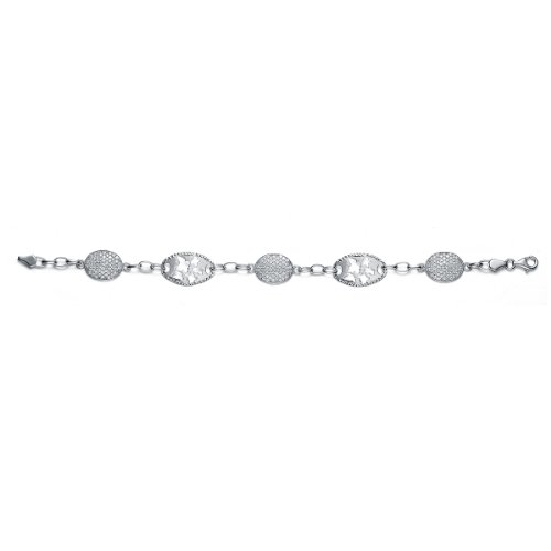 Sterling 925 Silver Link Bracelet With Open Oval Links Featuring MicroPave CZ Charms - Incl. ClassicDiamondHouse Free Gift Box & Cleaning Cloth