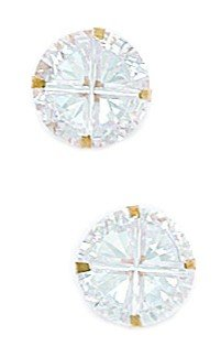 14k Yellow Gold 9mm 4 Segment Round CZ Light Prong Set Earrings - JewelryWeb