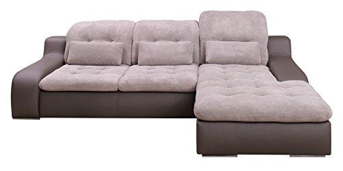 Polsterecke-Sofa-BAVERO-mit-Schlaffunktion-Schlafsofa-Schlafcouch-Wohnlandschaft-Kunstleder-Webstoff-Bettfunktion