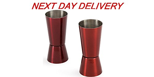 King International Stainless Steel Red Double Sided Jigger 30 (1 Oz) & 60ML (2 Oz); Set of 2 pieces (Double Sided Shot Glass compare prices)