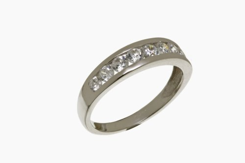Eternity Ring, 9ct White Gold Cubic Zirconia Ring, Channel Set