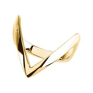 14K Yellow Gold Metal Fashion Ring: LONG V SHAPE SHANK Size: 12