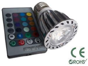 Glb E27 6 Watt Rgb Led Bulb Spotlight With Remote Control, 3X2Led Multi Color 16 Color Choices