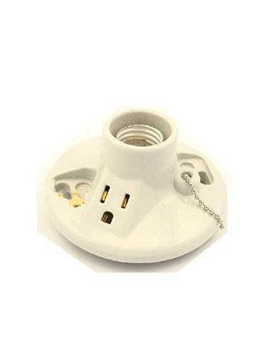 Leviton 9726-C One-Piece Glazed Porcelain Outlet Box Mount, Incandescent Lampholder, Pull Chain, Top Wired, White