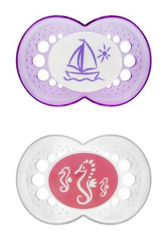 Mam Orthodontic Clear Silicone Pacifiers- 6+ Asst. Sea Patterns front-844767