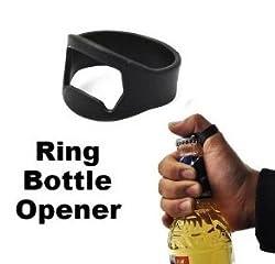 PackNBUY BLACK Set of 2 Stainless Steel Finger Ring Bottle Openers for Coke Beer