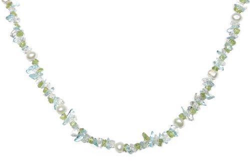 White Freshwater Cultured Pearl, Peridot and Dyed Crystal Necklace, 36