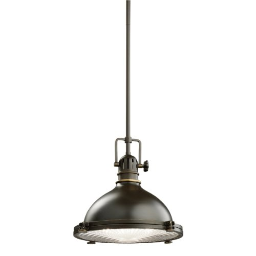 Kichler Lighting 2665OZ 1-Light 100-Watt Incandescent Mini Pendant with Fresnel Lens, Old Bronze