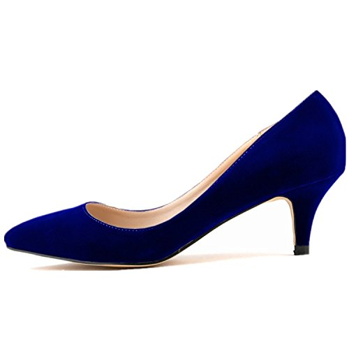 SAMSAY Women's Slender Kitten Heels Pointed Toe Pumps Court Shoes