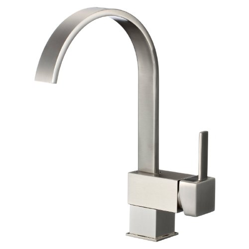 Lowest Prices! FREUER Organica Collection: Modern Kitchen / Wet Bar Sink Faucet, Brushed Nickel