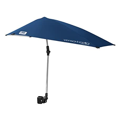 With this ultra-aerodynamic umbrella you can be shaded in style. Easily attach the heavy-duty clamp of the Versa-Brella to any round or square surface and instantly add maximum sun protection to every activity. Table, chair, bleacher, stroller, golf ...