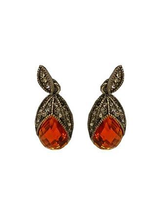 143Fashion Oval Shape Drop Earrings w/ Simulated Diamond Inserts, Orange, Free Size