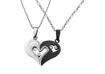 Couple Stainless Steel Necklace Black & Silver Pendant