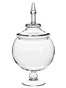 "19"" Clear Glass Multi-Purpose Dramatic Pedestal Globe Dish with Removable Lid"