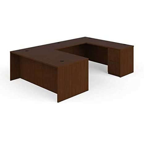 "basyx by HON BSXBLUPP72108A1 BL Laminate Series U-Shaped Desk, 2 Full-Height Pedestals, Non-Handed, 72"" x 108"" Footprint, Medium Cherry"