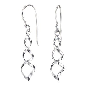 Sterling Silver Elongated Spring Twisted French Wire Earrings (Twisted Wire Ring compare prices)