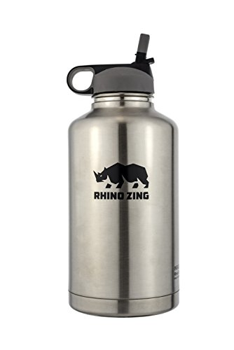 64 Oz Growler Stainless Steel Bottle Straw Lid (Water Jug With Straw 64 Oz compare prices)