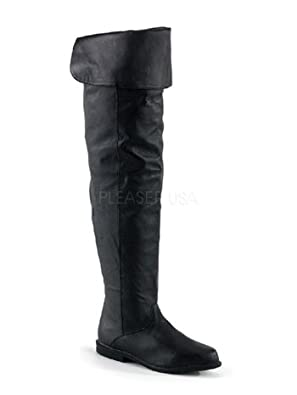 Flat Renaisance Black Thigh High Leather Boots - 11