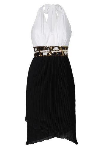 APART Fashion Chiffonkleid, Farbe schwarz-weiß-gold, Gr. 46