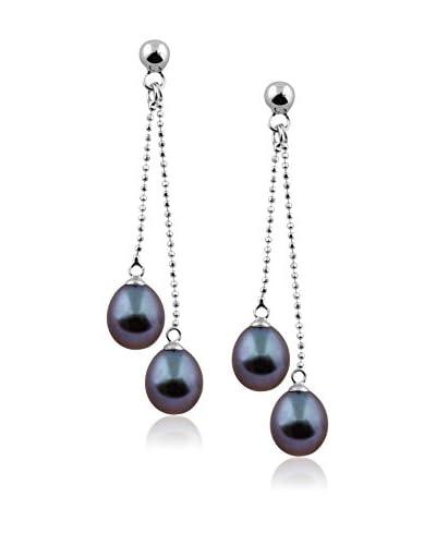 Splendid 7-8mm Black Pearl Double Drop Earrings