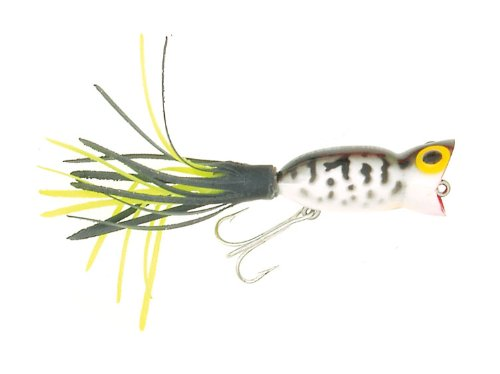 Best Arbogast Lure Company Hula Popper Fishing Lure (1 1/4-Inch-3.1-cm, Coach Dog-Black/Chartreuse Skirt)  Review