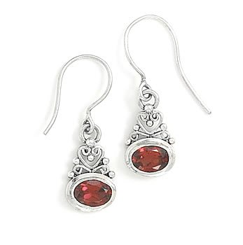 Scroll Heart Design with Garnet Earrings on French Wire