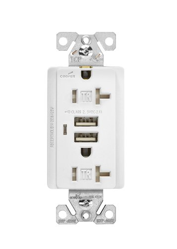 Cooper Wiring Devices Tr7746W-Box Combination Usb Charger With Tamper Resistant Receptacle And Box, 20-Amp, White Finish