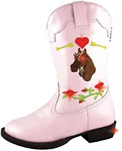 Smoky Mountain Girls AUSTIN LIGHTS with Horse Western Boots - Pink - Child 8.5