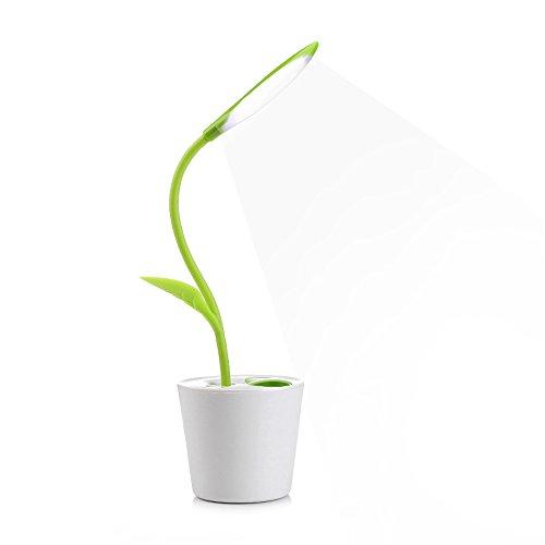iEGrow Lampada da Scrivania e Ufficio 1W con Porta USB, 3 Livelli di Dimmerabile Controllo Touch-Sensitive Lampada da Tavolo a LED (Verde Chiaro)