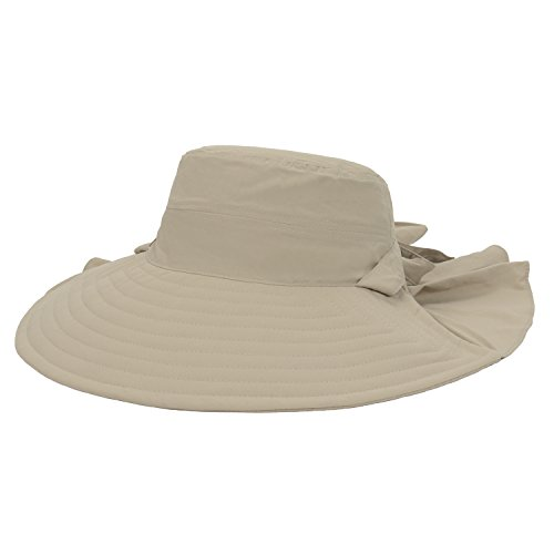 GP Accessories Womens Outdoor Sun Wide Brim Hat Waterfall Neck Veil Large  Beige UPF 40+  a33c4cfdf35b