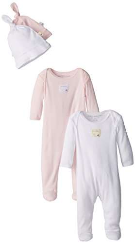 Burt's Bees Baby-Girls Organic Set of 2 Footed Coverall and 2 Caps, Blossom, 3 Months