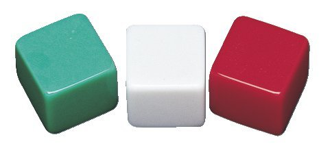 "School Smart 089919 Blank Dice with Adhesive Labels, 1/2"" x 1/2"", Green, White and Red (Pack of 36)"