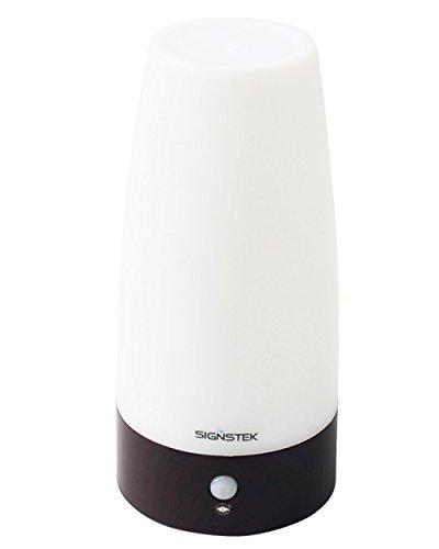 Signstek-LED-Bewegungsmelder-Tischleuchte-Nachtlicht-LED-Tischlampe-mit-kabellosem-PIR-Bewegungssensor-warmwei-Holz-Rund