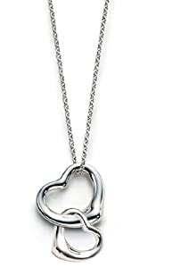 TI-6.Stunning T Designer Style Heart in Heart drop Fashion Necklace, Excellent quality, fast delivery 18 Inch Long 925 silver plated Necklace